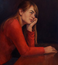 Portrait of Girl: End of Day, oil on panel by August Burns
