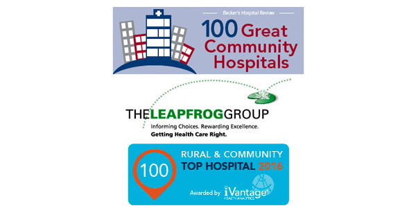 Logos for top hospital awards from Beckers, Leap Frog and iVantage