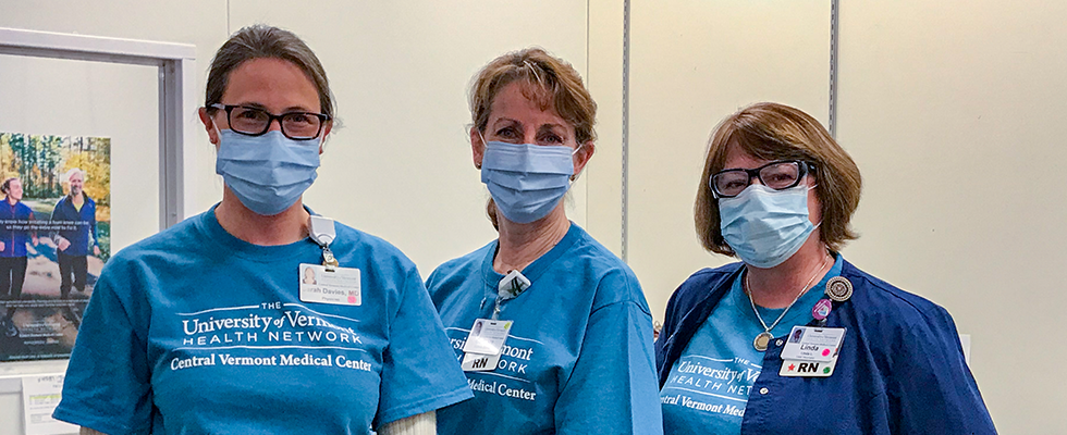CVMC Covid Vaccine Hub Medical Director Sarah Davies, MD, Director of Primary Care Operations Barbara Quealy, and Site Coordinator Linda Leu, RN