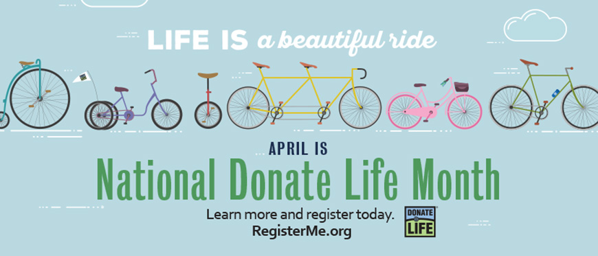 April Is National Donate Life Month graphic with a variety of bicycle styles