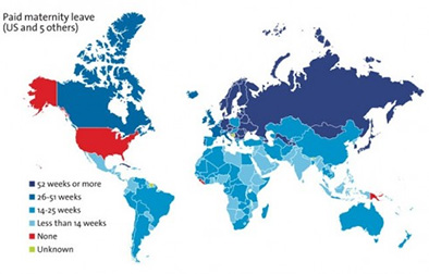 World map showing Paid Maternity Leave