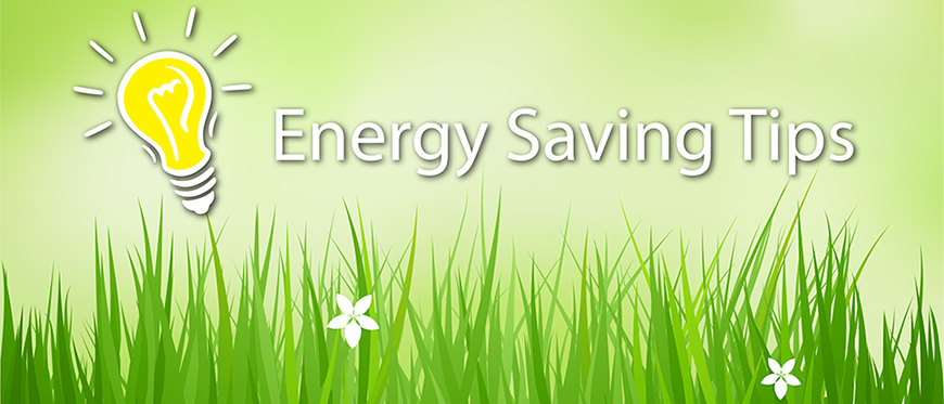 "Light bulb on grassy background with text ""Energy Saving Tips"""