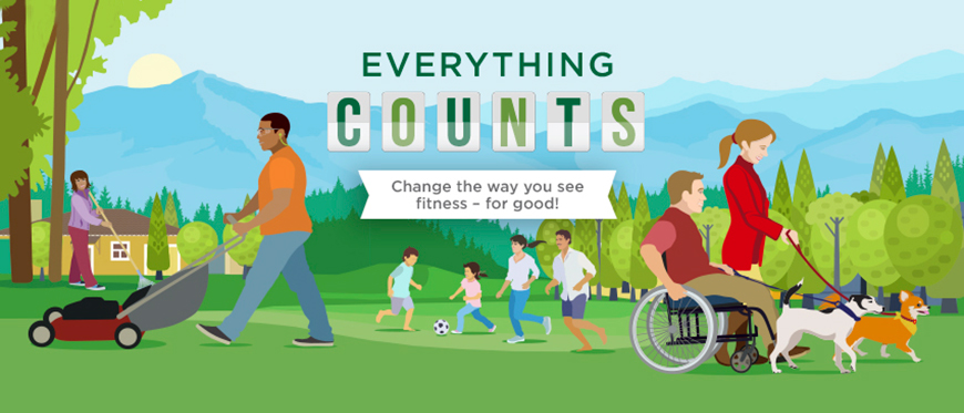 Everything Counts graphic showing active people