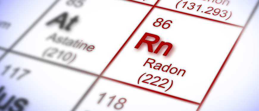 Periodical table showing Rn Radon (222) element