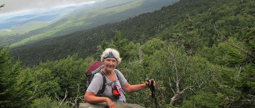 Cindy Griffith Hiking Hedgehog Brook to Appalachian Gap