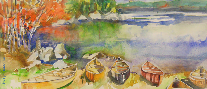 Watercolor of canoes resting at edge of lake by Lyn DuMoulin