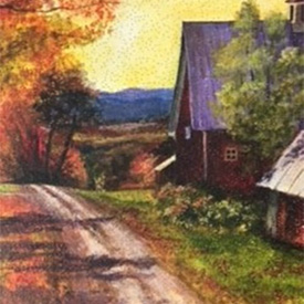 Painting of barn set within fall foliage and yellow sky
