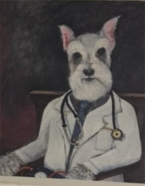 Painting of Schnauzer dressed in doctor's coat
