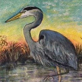 Painting of heron standing in a marsh