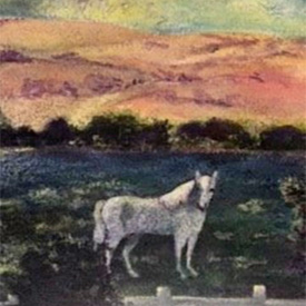 Painting of horse standing in field