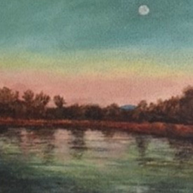 Painting of moon over lake with colorful sky