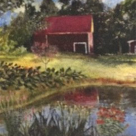 Painting of barn with pond in foreground