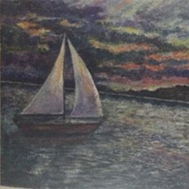 Painting of sailboat on a lake in the evening