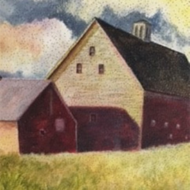 Painting of red barn set in field of golden hay