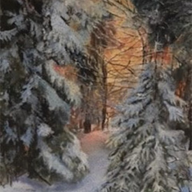 Painting of trees laden with snow
