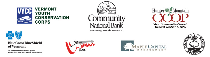 Logos for Vermont Youth Conservation Corps, Community National Bank, Hunger Mountain Coop, BlueCross BlueShield of Vermont, The Whammy Bar, Maple Capital Management, Onion River Sports
