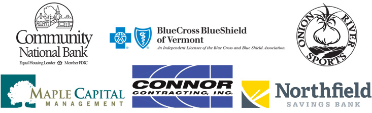 Logos for Community National Bank, BlueCross BlueShield of Vermont, Onion River Sports, Maple Capital Management, Connor Contracting and Northfield Savings Bank