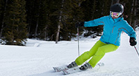 Skier turning down hill