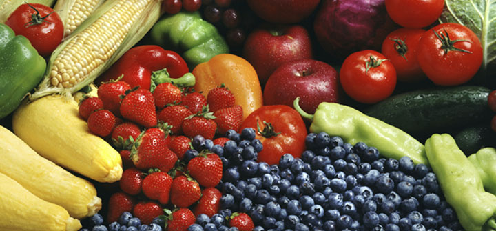 Colorful assortment of fruits and vegetables