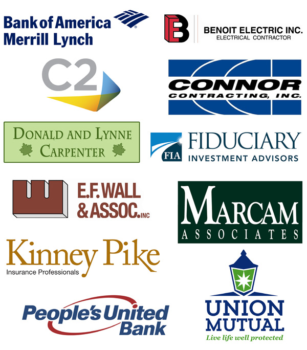 Logos of 2017 Eagle Sponsors: Bank of America Merrill Lynch, Benoit Electric, C2 Competitive Computing, Don & Lynne Carpenter, Connor Contracting, Inc., E. F. Wall & Associates, Fiduciary Investment Advisors, Kinney Pike Insurance, Marcam Associates, People's United Bank, Union Mutual
