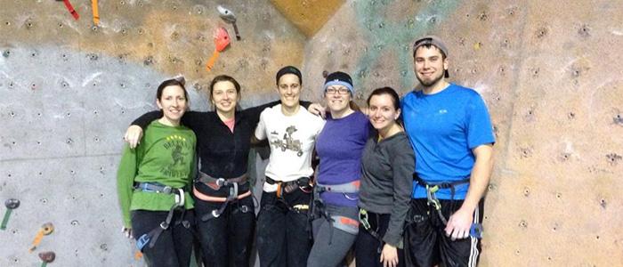 CVMC Rehab Staff rock climbing
