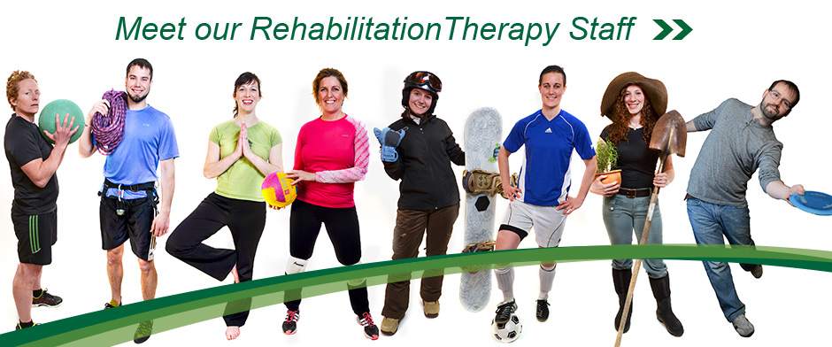 Click on photo of rehab staff doing their favorite activities to read staff bios