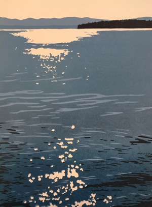 Woodblock of Lake Champlain by Janet Cathey