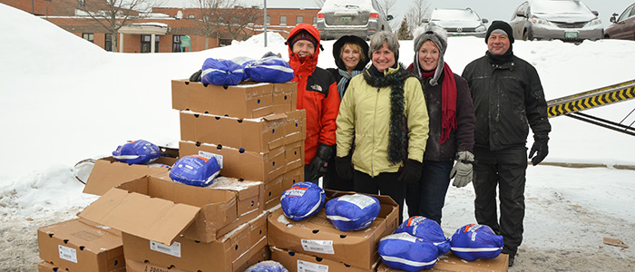 CVMC Staff with Turkeys Donated to Vermont Foodbank