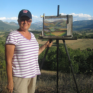 Jeneane Lunn painting in Italy last summer.