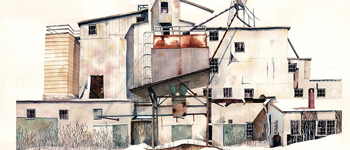 Brick Kingdom, Barton VT Watercolor Print by Tom Leytham