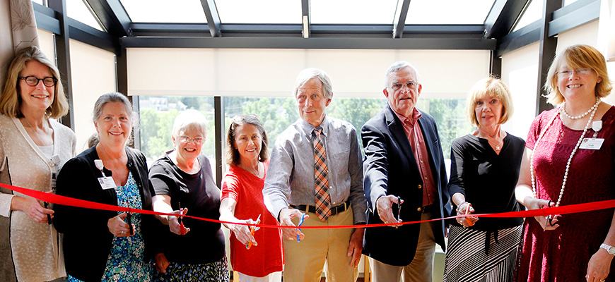 CVMC staff cutting ribbon at Palliative Care dedication ceremony