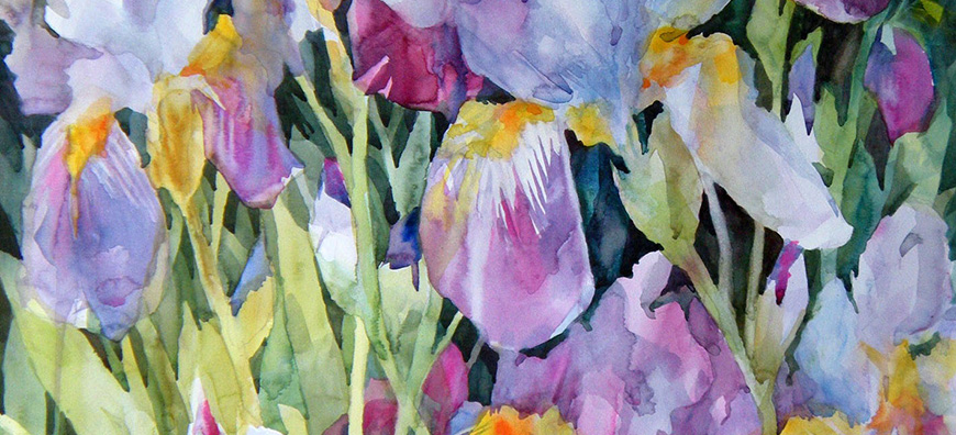 Watercolor painting of purple hued flowers