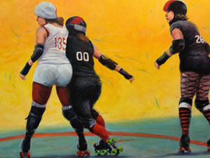 Roller Derby painting by Heidi Broner