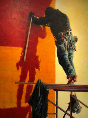 Shadow painting by Heidi Broner depicts construction worker on scaffold