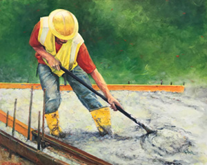 Strength painting by Heidi Broner depicts man spreading concrete