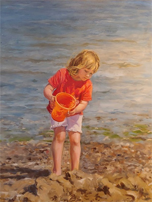 Painting of young girl emptying pail of water on beach by Molly Hawley