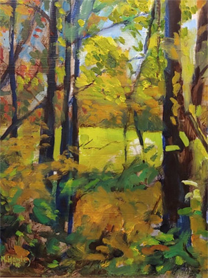 Painting of opening in trees looking onto grassy field by Molly Hawley