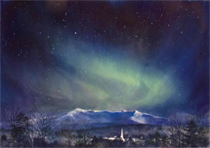 Watercolor of northern lights by Susan Bull Riley
