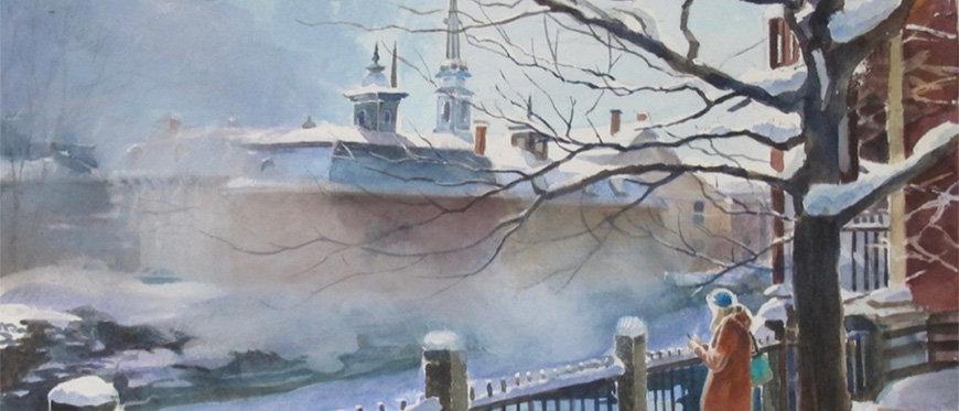 Watercolor painting by Susan Bull Riley of person watching fog come off river