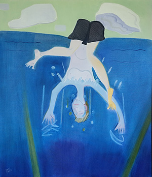 Mark Barry painting of boy upside down in water