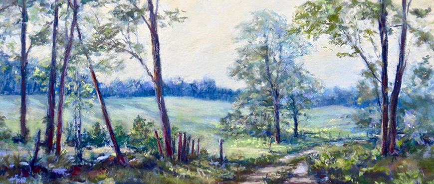 Pastel Painting by Wendy Soliday shows a dirt road meandering through trees and pasture