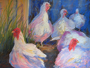 Pastel Painting by Wendy Soliday of Turrenne Turkeys