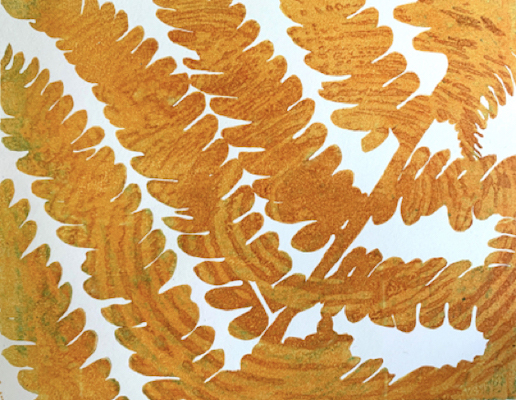 Up close painting of an orange fern entitled Fern Reflections