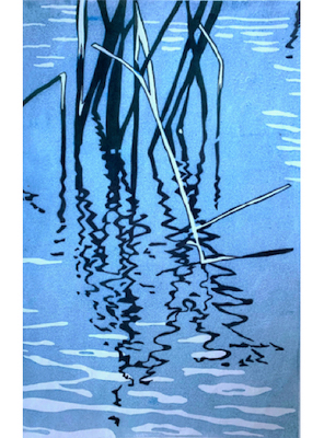 Painting of the reflection of tall grasses in the water entitled Grasses at Lake Memphremagog