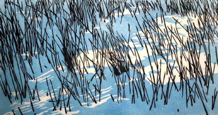 Painting of horsetails in the snow at sunset entitled Horsetails in the Floodplain Forest