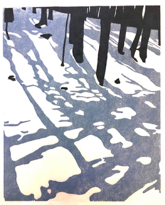 Painting of tree shadows on the snow in the sunset entitled Shadow Plaid
