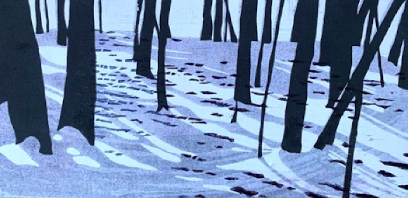 Painting of tree shadows on the snow at dusk entitled Tree Shadows