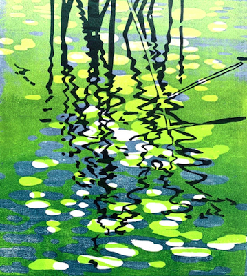 Painting of the reflection of tall brown grasses in green water entitled Water Abstract.