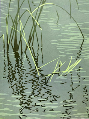 Painting of the reflection of tall green grasses in grey water entitled Water Grasses