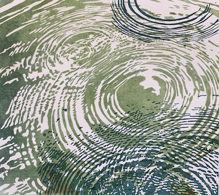 Painting of a water droplets from rain entitled Rain in the Reservoir.
